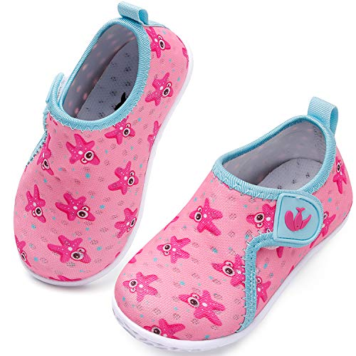 JIASUQI Baby Girls Boys Summer Quick Dry Water Shoes Casual Beach Sandals Starfish Pink 12-18 Months