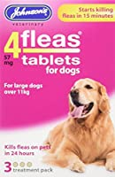 Johnsons Veterinary Products 4Fleas Tablets for Dogs Treatment Pack, Large, Pack of 3 Johnsons Veterinary Products Assembly Parts Puppies and dogs over 4weeks Dogs over 11k Starts killing in 15mins