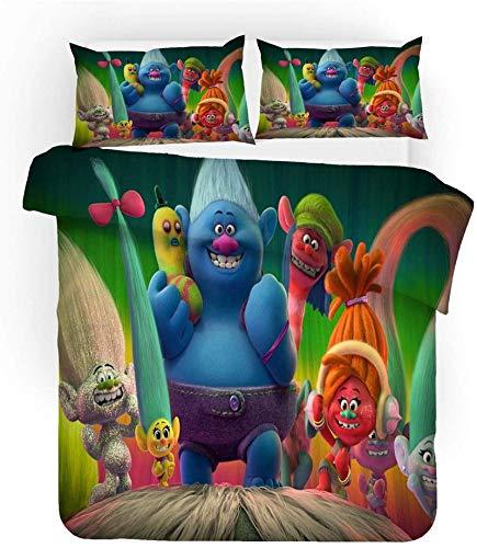 Juego de ropa de cama infantil de Trolls, 100 % microfibra, suave y cómodo, 2 fundas de almohada (05,155 x 200 cm (50 x 75 cm)