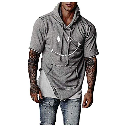 Summer Gym Fitness T-Shirts for Men Smile Printed Graphic Tee Sweatshirt Short Sleeve Blouse Top Hoodies with Pocket