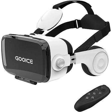 Gooice VRゴーグル 3D VR ヘッドセット 非球面光学レンズ搭載 近視/遠視適用 120°視野角 放熱性よい 本体操作可 受話でき 着け心地よい 4.7~6.2インチiPhone& android などのスマホ対応 [コントローラ付 日本語説明書付]