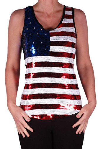 EyeCatch - Stars and Stripes USA Fahne Flagge Pailletten Träger Top, small