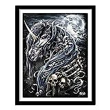 DIY 5D Kit de pintura de diamantes Bordado de diamantes de imitación de caballo de guerra negro Imagen de punto de cruz para la decoración de la pared del hogar Diamante redondo 40x30cm