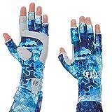 FHM Mark Guantes UPF 50+ UV Protección solar medio dedo antideslizante transpirable Pesca deportes al aire libre bicicleta correr senderismo bicicleta kayak (impresión azul, L)