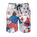 Bañador para hombre, diseño deportivo con estampado 3D, con forro de malla, para tiempo libre, con bolsillos, color blanco, talla 6XL