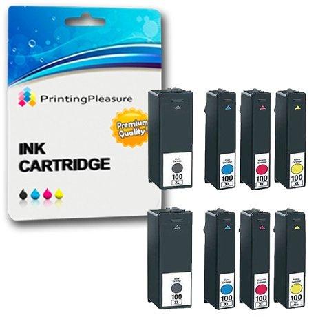 8 Compatibles 100XL Cartuchos de Tinta para Lexmark S300 S301 S305 S308 S405 S408 S505 S605 S815 S816 Pro 202 205 208 209 702 705 706 805 901 902 903 905 - Negro/Cian/Magenta/Amarillo, Alta Capacidad