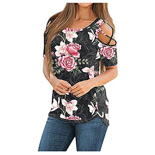 YIKEYO Camisetas Mujer Manga Corta Originales y Casual Floral Blusas y Camisas de Mujer Elegantes Ropa Mujer...