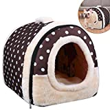 ozuar 2 in 1 cane letto house cat igloo pet house e cuscini del divano pieghevole inverno caldo molle del cane rimovibile per gatto cane puppy rabbit coffee dot (45 × 35 × 35 cm)