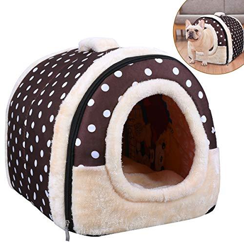OZUAR Cama para perro, 2 en 1, para gato, casa de mascotas y sofá, plegable, para invierno, suave, cálida, cama para perro, cojines extraíbles para gato, perro, cachorro, conejo, café (45x35x35cm)