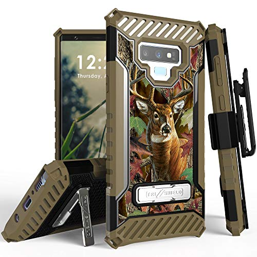 Beyond Cell Trishield Series Compatible with Note9 Case/Military Grade Rugged Cover + [Metal Kickstand]+[Belt Clip Holster] Compatible with Samsung Galaxy Note 9 (2018) - Deer Outdoors Hunting Camo