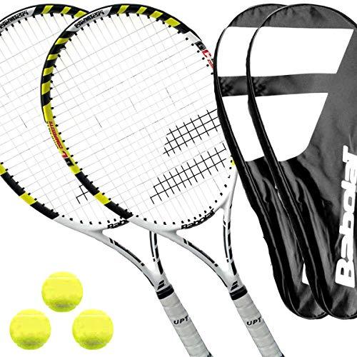 2 x Babolat Pulsion Sport - Tennisschläger besaitet L1/L2 + Cover