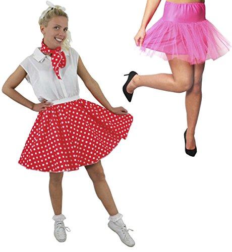 Disfraz de polka para mujer, falda de lunares roja corta con bufanda a juego y falda baja rosa caliente (rojo con puntos blancos y blanco y falda bajo falda – Reino Unido 8 – 12)
