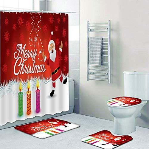 4 Stück/Set Weihnachtsduschvorhang, wasserdichter Polyester-Badvorhang rutschfeste Sockelteppiche Toilettendeckelabdeckung und Badematten-Set mit 12 Haken