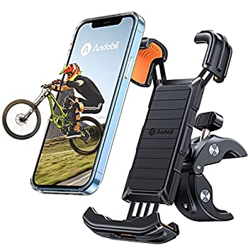 andobil Bike Phone Mount 【Full Protection & Super Stable】 Motorcycle Phone Mount Universal Handlebar Bicycle Cell Phone Holder Compatible with iPhone 12/12 Pro Max/11/X/8 Galaxy S21/Note20 and More