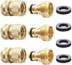 HQMPC Garden Hose Quick Connect Solid Brass Quick Connector Garden Hose Fitting Water Hose Connectors 3/4 inch GHT (3 Sets)