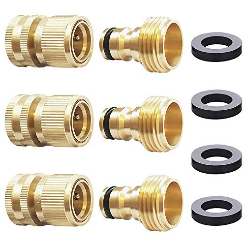 HQMPC Garden Hose Quick Connect Solid Brass Quick Connector Garden...