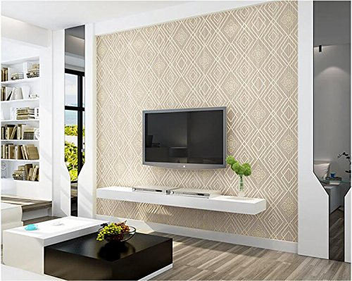 Yosot 3D eenvoudige moderne rooster behang woonkamer tv achtergrond muur niet-geweven stof behang champagne kleur