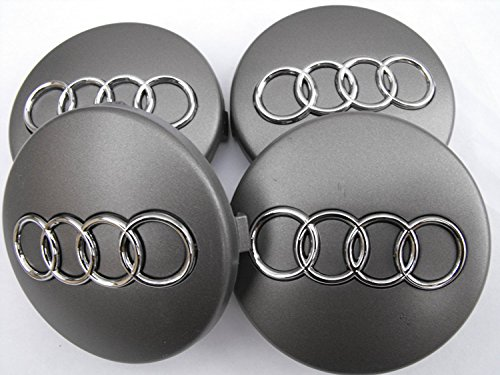 Audi - Juego de 4 tapabujes de 60mm en color gris oscuro con anagrama