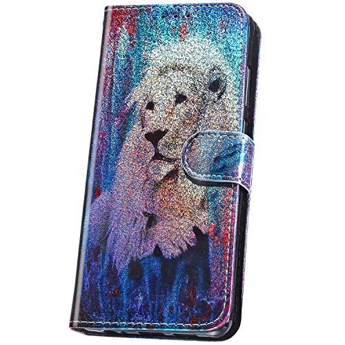 Huawei Mate 20 Pro Coque à Rabat Portefeuille PU en Cuir Housse Laser Paillettes Bling Glitter Mignon Motif Folio Flip Case pour Huawei Mate 20 Pro Magnétique Wallet Etui de Protection,Lion