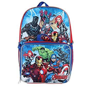 Marvel Avengers 16  Backpack With Detachable Matching Lunch Box Featuring Ant-Man Black Panther and Other Super Heros