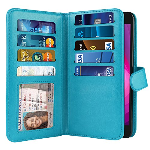 NEXTKIN Case Compatible with LG X Power 2 LV7 M320 5.5 inch, Dual Wallet Folio TPU Cover Large Pockets Double Flap, Multi Card Slots Button Strap for LG X Power 2 LV7 (NOT FIT LG X Power) - New Teal