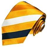 LORENZO CANA - Krawatte aus 100% Seide Italienische Tradition - gelb blau gold weiss ocker gestreift Streifen - 42019