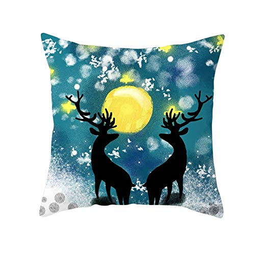 Malinmay Cushion Case Cover, Polyester Two Deers Moon Throw Pillow Cover Black Blue Yellow Style 6 Size 45X45CM