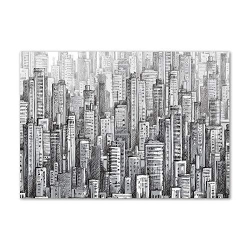 Tulup - Cuadro de cristal para pared - Mural detrás de vidrio de seguridad templado - Pared decorativa para cocina y salón 100 x 70 - monumentos y arquitectura - rascador de nubes - gris