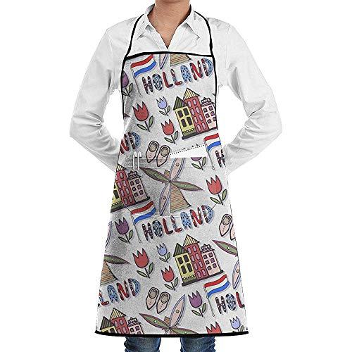 Wthesunshin Handgetekende Holland Windmolen Commerciële Chef Schort met Zak, Unisex Restaurant Keuken Bib Apron, Machine Wasbaar, Perfect om te koken, Bakken,