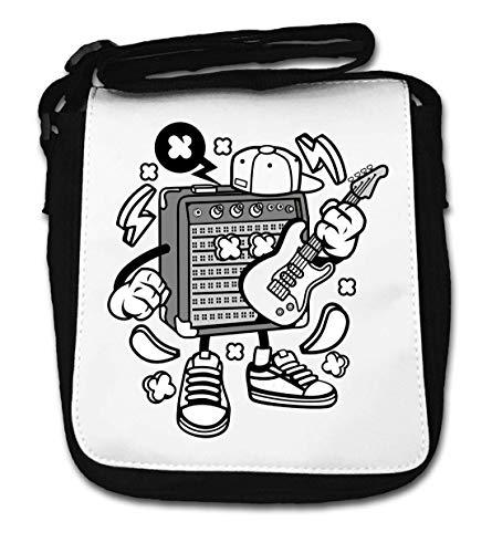 Cartoon stijl versterker gitaar muziek liefhebber kleine schouder tas