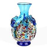 YourMurano Jarrón de Cristal de Murano, Moderno jarrón Azul, Fabricado en...