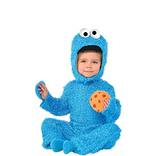 Suit Yourself Cookie Monster Halloween Costume for Babies, Sesame Street, 0-6M, Includes Jumpsuit and Rattle