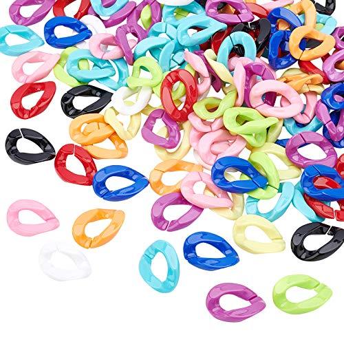 PandaHall 200 anillos de unión de acrílico, 10 colores conectores de enlace rápido para pendientes, collares, joyas, lentes, manualidades, manualidades, etc.