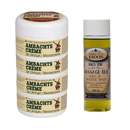 4 POTTEN AMBACHTSCREME + 1 ARNICA SPORT MASSAGEOLIE 200ML
