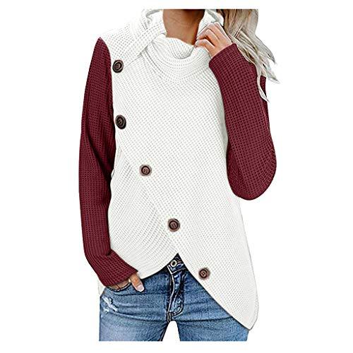 Women's Autumn and Winter Regular Blouse Sweatshirt Long Sleeve Sweater Pullover Tops Button Blouse Shirt FEISI22