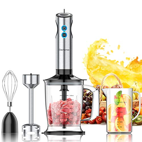 Elechomes 800W Multi-Purpose Immersion Hand Blender, 4-in-1 Pure Copper Motor 12-Speed Stick Blender with 304 Stainless Steel 4-Blade, Large 1.2L Food Processor, 800ml Mixing Beaker, Egg Whisk Attachments