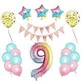 Cumpleaños Globos,Decoraciones de Cumpleaños ,Pancarta de Feliz Cumpleaños,Foil Helio Globo Número ,Decoración de Cumpleaños Rosado,Feliz Cumpleaños Decoración Globos (9)