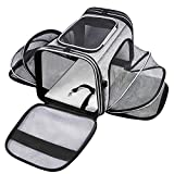 MASKEYON TSA Airline Approved Soft Sided Pet Carrier Top Loading 4 Side Expandable Large Travel Cats Carrier Collapsible with 3 Removable Washable Pads and 3 Pockets for Cats Kitten and Small Dogs