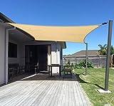SUNNY GUARD 12' x 16' Sand Rectangle Sun Shade Sail UV Block for Outdoor Patio Garden...