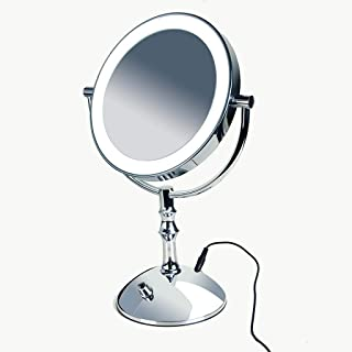 Makeup Mirror with Light - LED Magnifying Mirror 3X, Double Sided Vanity Mirror with Lights, AC Adapter Or Battery Operated, 360°Rotation, Vanity Mirror with Stand Natural White Light 5CD1