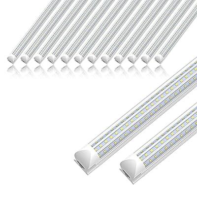 12 Pack SHOPLED 8ft LED Shop Light, 90W 11700LM 6000K, Cool White, Triple Sided D Shape, High Output, T8 Integrated LED Tube Light, Warehouse, Workshop
