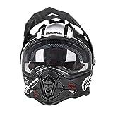 O'NEAL | Motorrad-Helm | Enduro | ABS Außenschale, mit Visier & integrierter Sonnenblende, Doppel-D Kinnriemen Sicherheitsverschluss | Sierra Helmet Comb | Erwachsene | Schwarz Weiß | Größe M