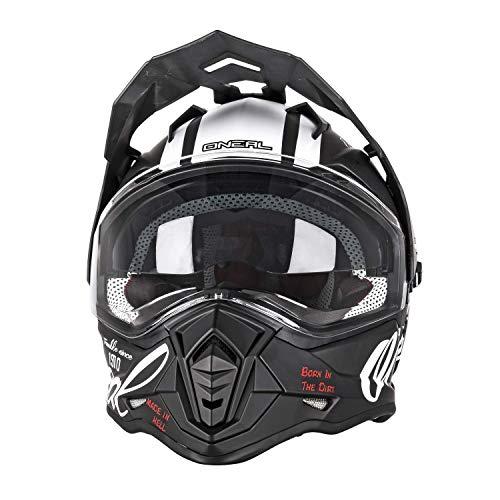 O'NEAL   Casque de Moto   Moto Enduro   Ouvertures de Ventilation pour Un Flux d'air Maximum, Coque en ABS, Pare-Soleil intégré   Casque Sierra Torment   Adulte   Noir/Blanc   Taille L