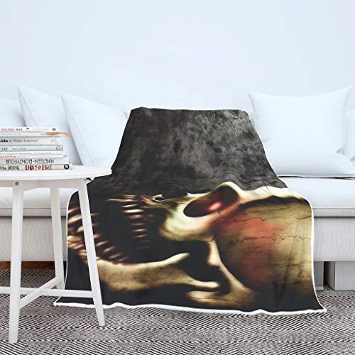 O2ECH-8 vleermuisdeken Skull Bone Head thema gedrukt oversized werft robe - wit warm gezellig geschikt voor wintergeschenk gebruik