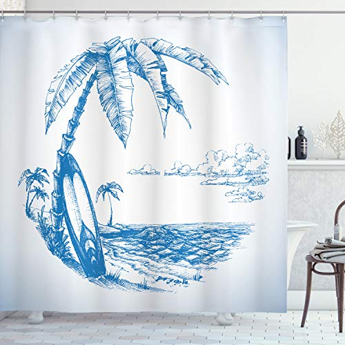 """Ambesonne Surf Shower Curtain, Contemporary Sketch Illustration Hawaiian Beach Surfboard Palms Ocean Water, Cloth Fabric Bathroom Decor Set with Hooks, 70"""" Long, Blue and White"""