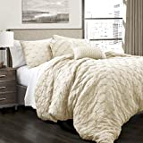 Lush Decor Ravello Shabby Chic Style Pintuck Ivory 5...