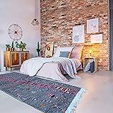 Tapis berbère 145x235 cm Rectangulaire BERBERE AZILAL 20 Gris Salon Noué Main