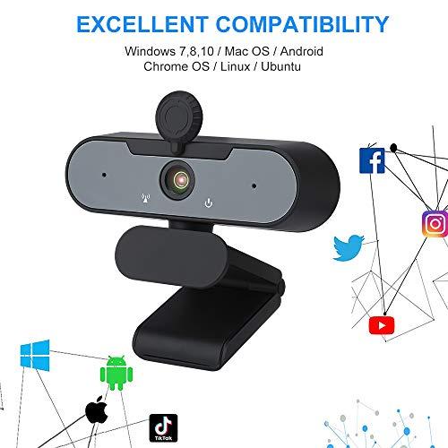 Webcam mit Mikrofon,1080P Full HD mit Webcam Abdeckung,Laptop PC Kamera für Video-Streaming, Konferenz, Spiele, Kompatibel mit Windows/Linux/Android