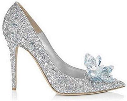 FUTER Escarpins Simples Chaussures Femme PU Strass Talon Fin Pointu Bouche Peu Profonde Mariage 7CM Talons Hauts Argent