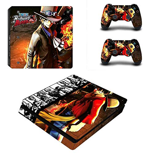 WANGPENG One Piece Rufy Full Cover PS4 Slim Stickers Playstation 4 Skin Sticker per Playstation 4 PS4 Slim Console e Skin Controller